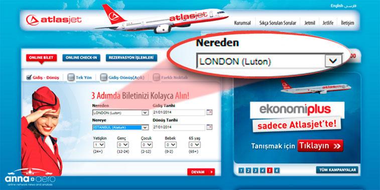 Atlasjet's booking tool