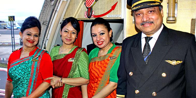 Biman cabin and flight crew.