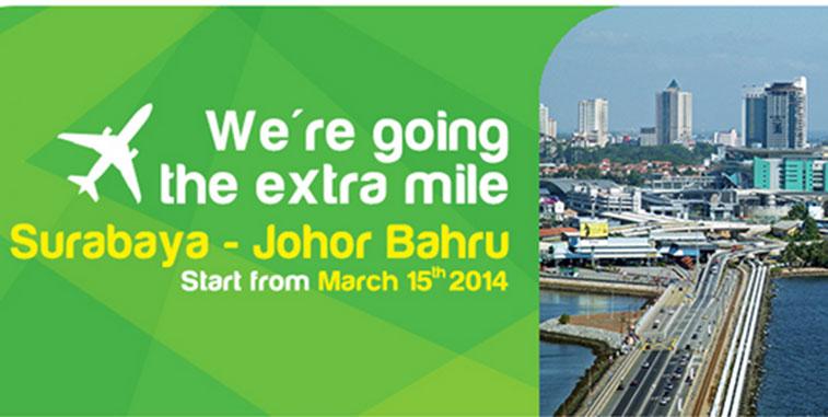 Citilink launches first international flights from Surabaya to Johor Bahru.