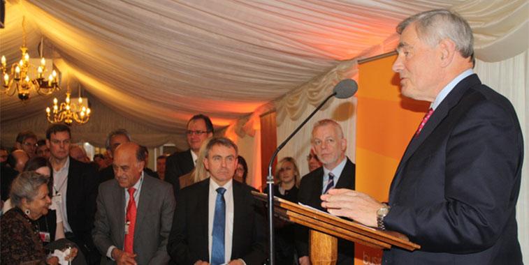 easyJet chairman John Barton speaking at the event.