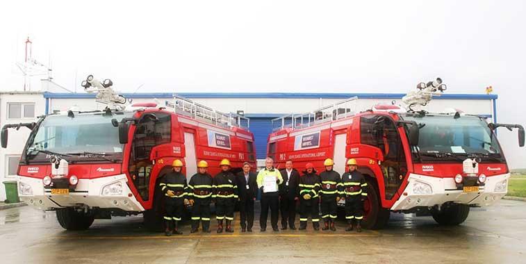 Bucharest Airport's proud firefighters