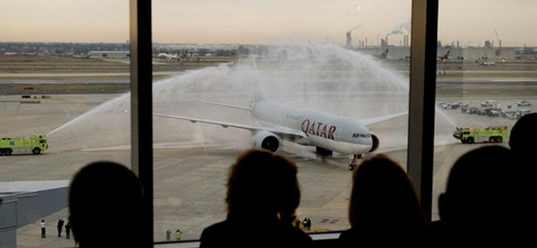 Water Arch 4 -Qatar Airways Philadelphia to Doha
