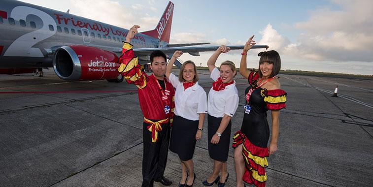 Local Jet2.com staff at Blackpool Airport
