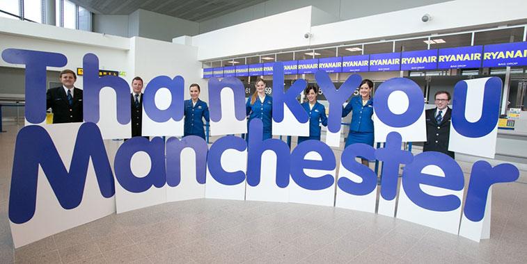 Ryanair celebrated 11 million passengers at Manchester Airport