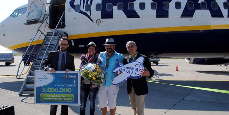 Ryanair celebrates 3 million passengers