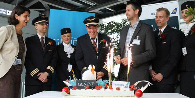 Icelandair lands at Geneva from Reykjavik/Keflavik