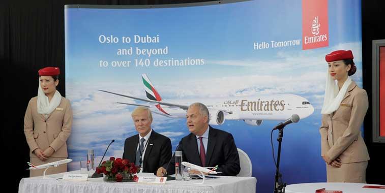 Emirates touches down at Oslo