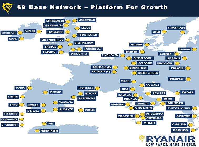 Ryanair's 69 bases