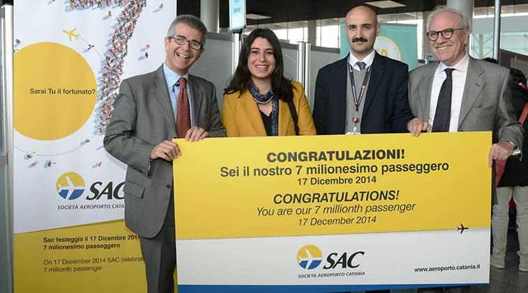 Catania Airport celebrated seven million passengers in 2014