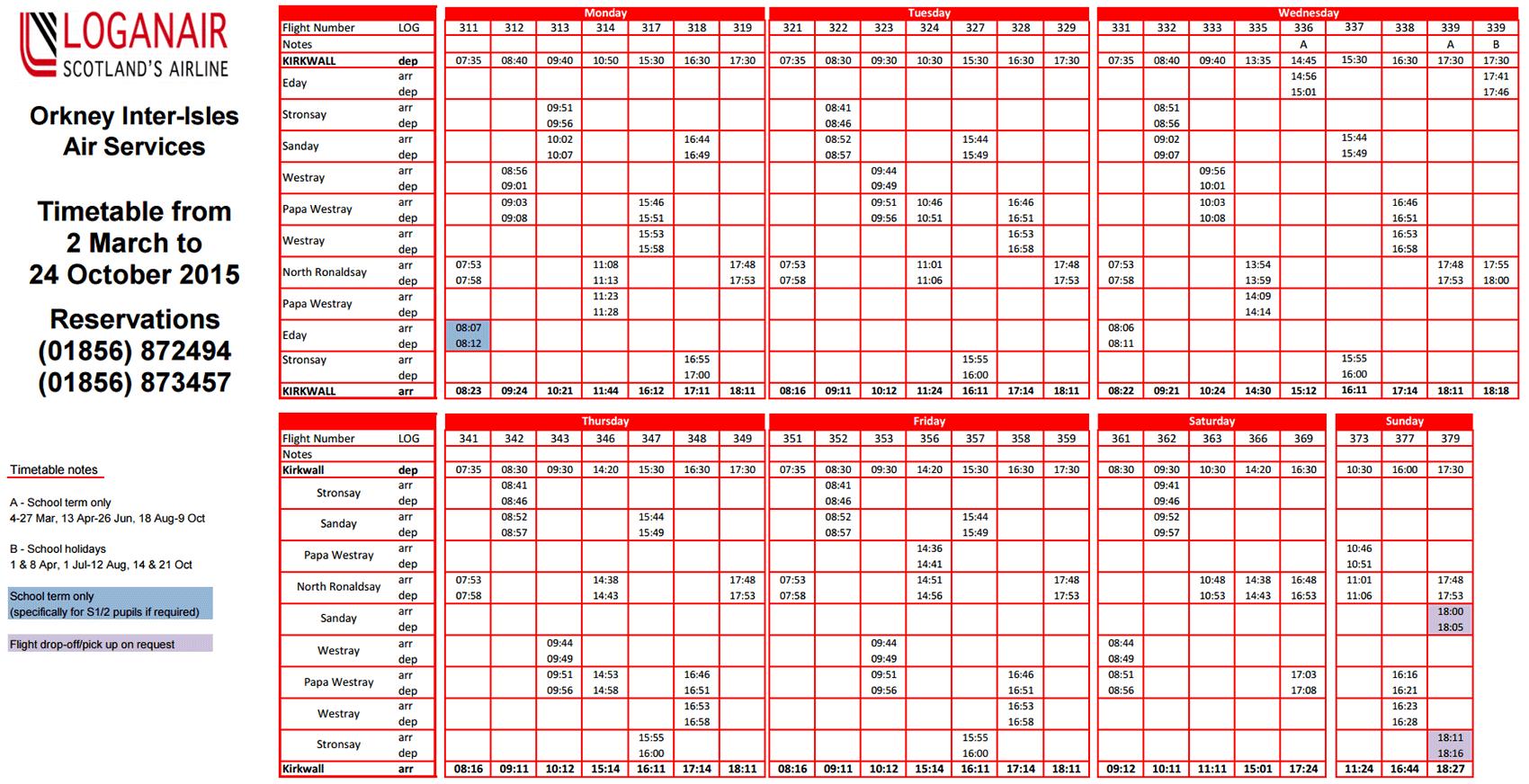 Loganair timetable