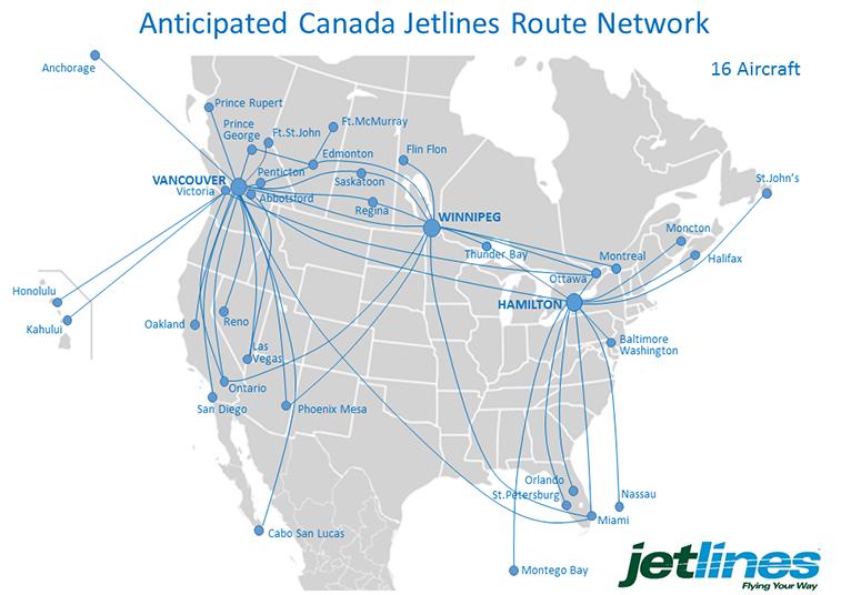 Canada Jetlines map