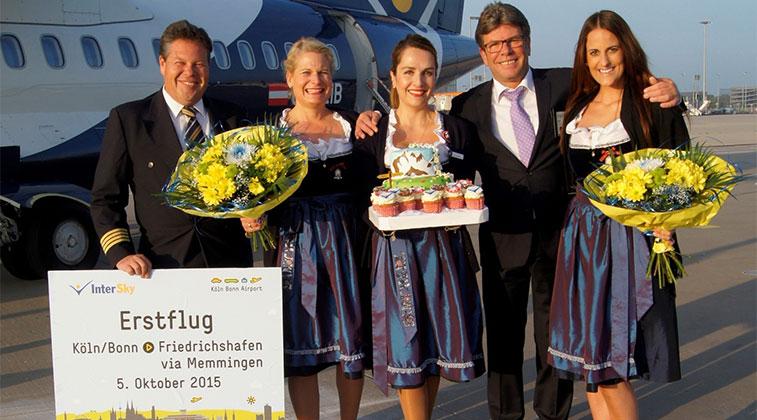 intersky celebrating launch cologne bonn-to friedrichshafen via memmingen