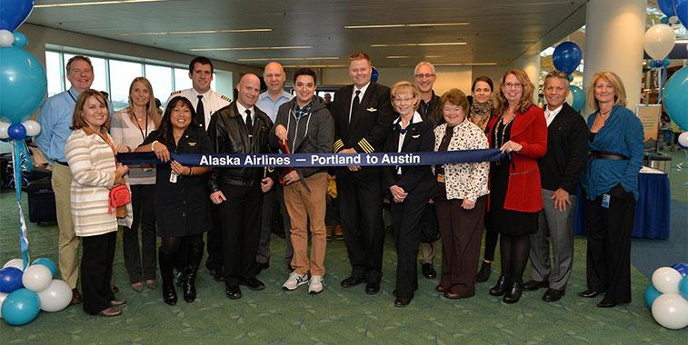 portland airport alaska airlines austin bergstrom ribbon cuttin