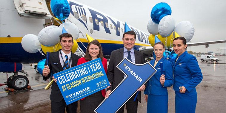 ryanair one year anniversary from glasgow airport to berlin