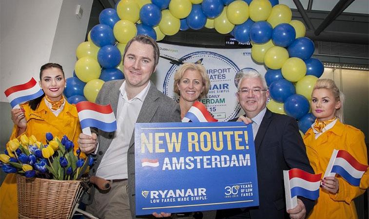 ryanair starts 21 new routes dublin to amsterdam