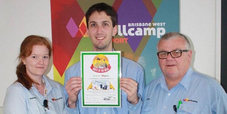 Brisbane West Wellcamp Airport this week celebrated winning the prestigious anna.aero Route of the Week Award