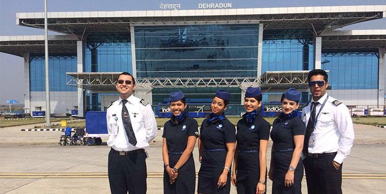 The flight and cabin crew of IndiGo's inaugural flight to Dehradun