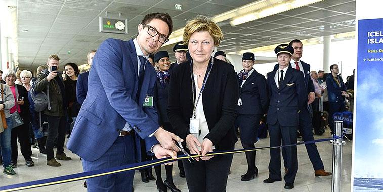 Paris Orly celebrated the start of Icelandair's twice-weekly service to Reykjavik/Keflavik