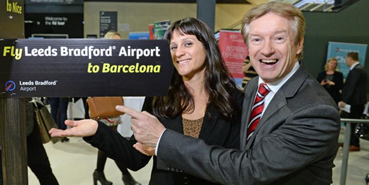 Teresa Lucia Cabrera Cavallero of Vueling and Tony Hallwood, Aviation Development Director, Leeds Bradford Airport