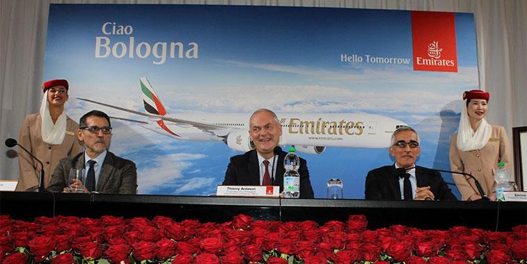 On 3 November 2015 Bologna became Emirates' fourth destination in Italy following Rome Fiumicino, Milan Malpensa and Venice Marco Polo.
