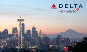 Delta Air Lines' Seattle-Tacoma international traffic growing 22% year-on-year; next Delta/Virgin Atlantic Airways partnership destination