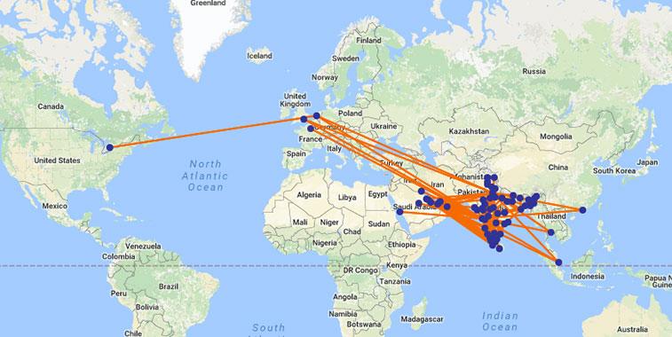 Jet Airways' route map