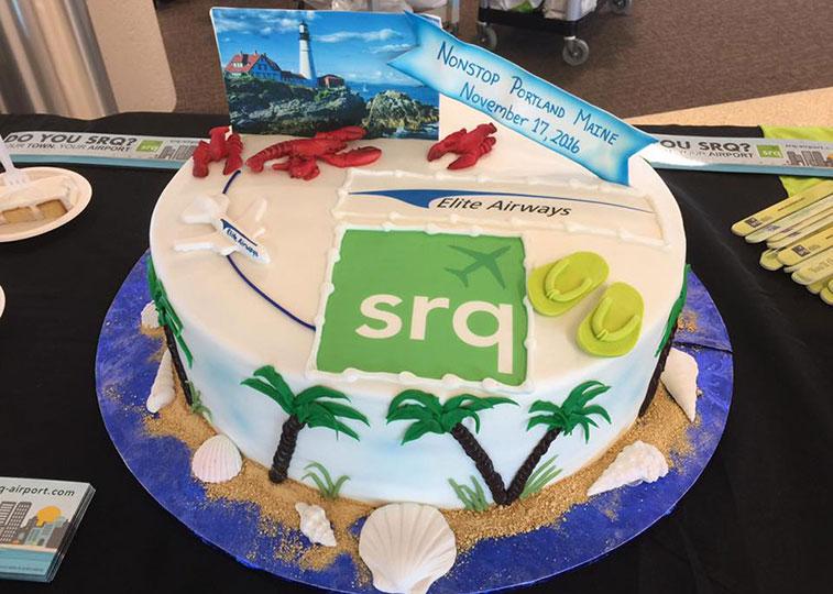 Elite Airways Sarasota cake
