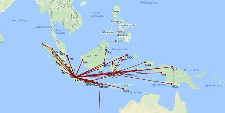 Batik Air route map in W16/17