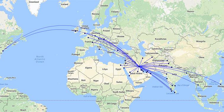 Kuwait Airways S17 route map
