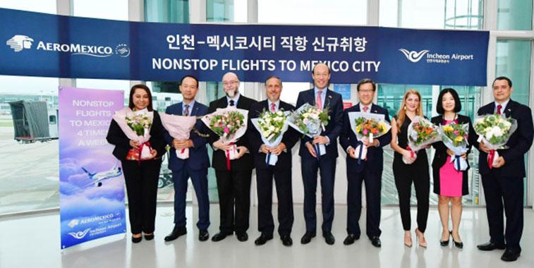 Aeromexico links Mexico to South Korea.