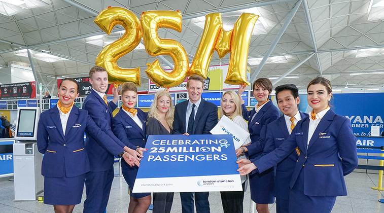 Ryanair 25 million passengers Stansted