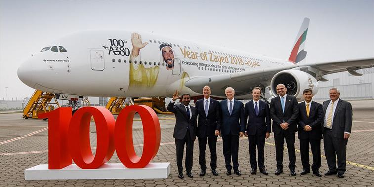 Emirates 100 A380