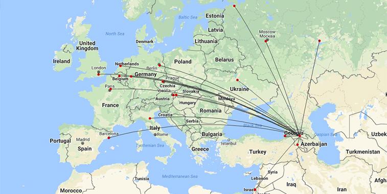 Georgian Airways S18 route map