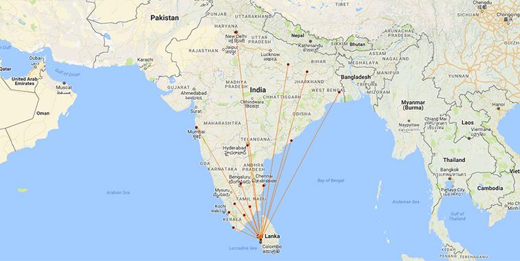 India Sri Lanka routes