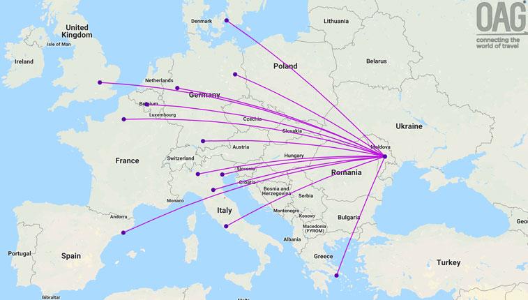 Wizz Air Chisinau route map