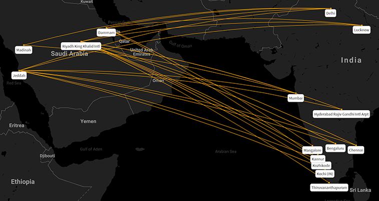 India - Saudi Arabia routes in W19