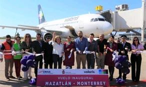 Volaris launches Monterrey to Mazatlan; 80,000 flown on route in past year